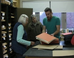 Ruth Clark, Adriane Hess and Philip Klahs with herbarium specimens